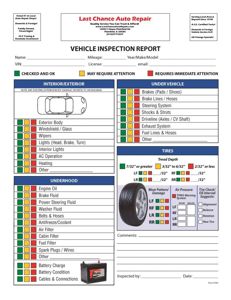 Vehicle Inspection Service Plainfield, Naperville, Bolingbrook, IL